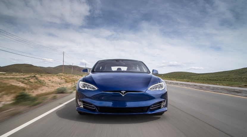 Tesla Model S on road